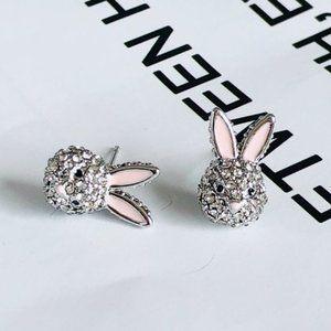 Kate Spade Rabbit Full Diamond Pink Earrings